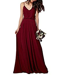 MenaliaDress Long Chiffon Spaghetti Straps V Neck Bridesmaid Dress M097LF
