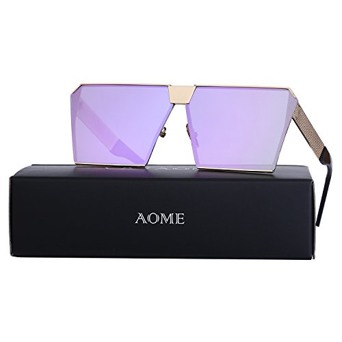 AOME Oversized Flat Top Sunglasses Square Metal Frame Mirrored Sunglasses (Gold&Purple, - Sunglasses Purple Frame