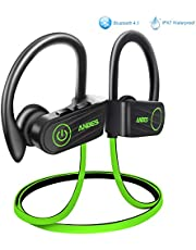 Bluetooth Headphones, ANBES IPX7 Waterproof Wireless Earphones, Up to 8 Hours Play Time, Bluetooth 4.1 Running Headphones with Ear Hooks & Mic, HD Stereo Sound, Noise Canceling
