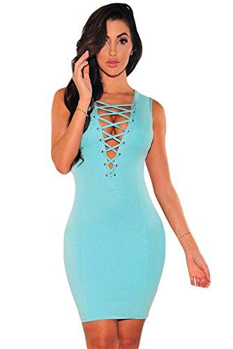 Neue Damen Blue Lace Up Ausschnitt Figurbetont Mini Kleid Club Summer Wear Casual Party Dance Wear Größe M UK 10