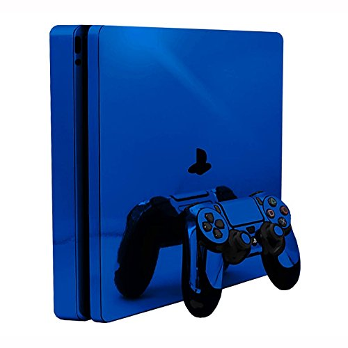 Sony PlayStation 4 Slim Skin (PS4S) - NEW - BLUE CHROME MIRROR vinyl decal console mod kit by System Skins