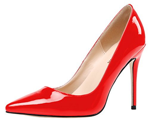 AOOAR Women's Heeled Slip On Red Patent Dress Pumps 6 M US (Patent Red Pumps Leather)