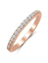 Eternity Love Women's Wedding Band Stackable Ring with Round Brilliant Cubic Zirconia