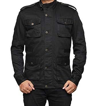 Black Cotton Jacket Men - Lightweight Mens Black Jacket | XS