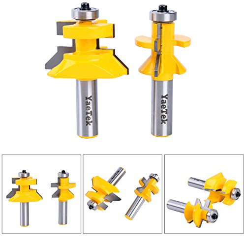 YaeTek Matched Tongue and Groove V-Notch Router Bit Set 12-Inch Shank