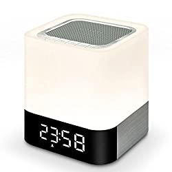 OOLIFENG Alarm Clock, Bluetooth Speaker with Touch Sensor Support Handsfree AUX LED Time Display Alarm Loudspeaker