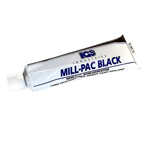 Non-Toxic High Temp Mill-Pac Black Sealant | Fireplaces, Wood, Pellet, and Gas Stoves, Direct Vent Systems, Flue Joints | Environmentally Friendly | 1050-Degree (90 ml Squeeze Tube) (Fireplace Inserts Vent Direct Gas)