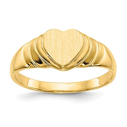 (Jewel Tie Size 9-14k Yellow Gold Heart Engravable Signet Ring (7mm))