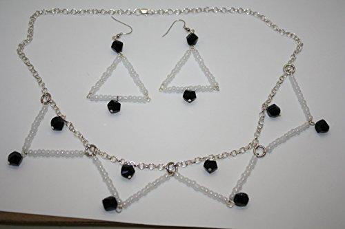 [Opal & Onyx Color Jewelry Set Egyptian Choker Collar Necklace Triangle Earrings Czech Glass Dressy Black White Costume] (Czech Costumes Jewelry)