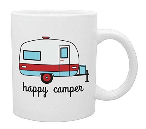 (Happy Camper Funny Coffee Mug- White 11 oz Coffee Cup - Novelty Mugs are Perfect Gift for Women, Mom, Teachers Under $20)