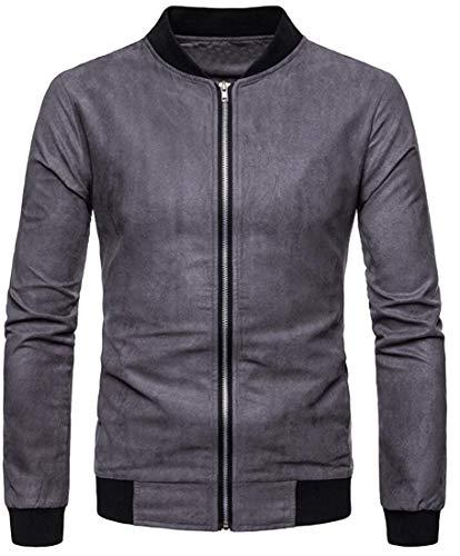 SHOWNO Men's Suede Fabric Zip Up Casual Warm Plus Size Mandarin Collar Jacket Coat Grey L