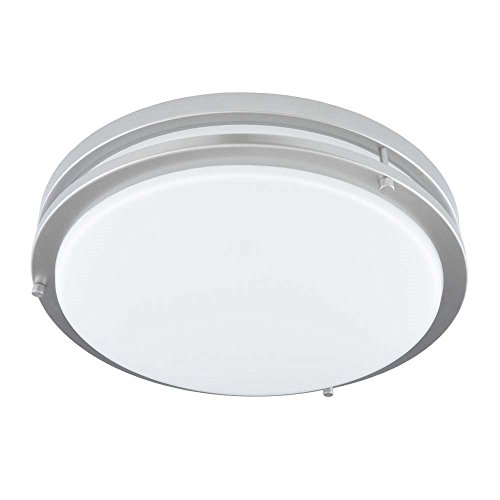 Good Earth Lighting Jordan 14-inch LED Flush Mount Ceiling Light - Brushed Nickel - (2) 60W Incandescent Equivalent - 3000K Bright White - Dimmable - 50,000 Hours Lamp Life - ETL - Energy Star ()