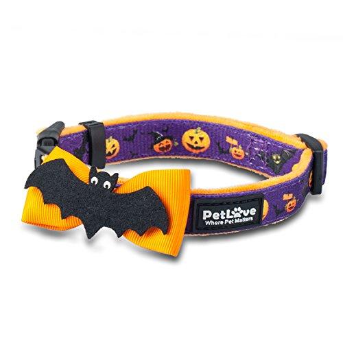 PetLove Dog Collar Special Designed [Life Series] Polyester Collars for Dog - Pumpkin Bat - -