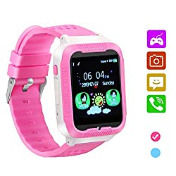 Kids Smart Watch Phone,Game Phone Watch for Boys Girls,Camera Touchscreen Alarm Clock Watch,Kids Cell Phone Watch with SIM and SD Slot, Children Festival Birthday Great Gift. (Pink)