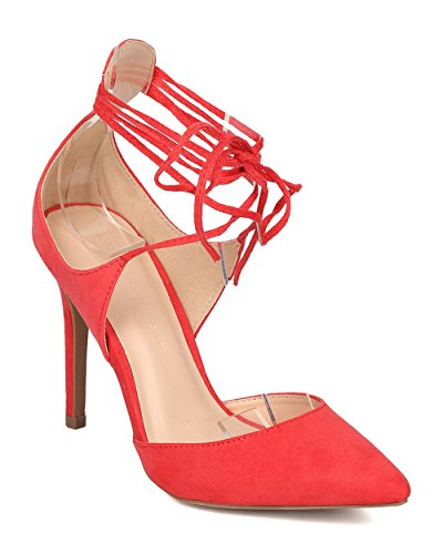 Wild Diva Women's Pointed-Toe Ankle Tie Stiletto Pump in Hot Coral Size:7.5 - Ankle Tie Pump