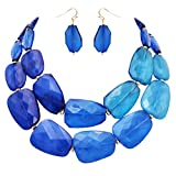 Rosemarie Collections Women's Ombre Polished Resin Statement Necklace Earring Set (Blue)