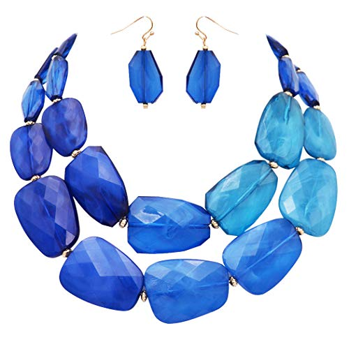 Rosemarie Collections Women's Ombre Polished Resin Statement Necklace Earring Set (Blue) -