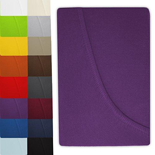 luxoon Jersey Spannbettlaken Spannbetttuch Serie in 16 modernen Farben und 5 verschiedenen Größen (90 x 200 cm - 100 x 200 cm, lila)