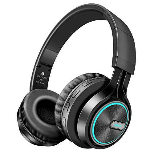 Picun Wireless Headphones [Up to 20 Hrs] Over Ear with Cool & Romantic LED Light, HiFi Stereo Folding Wireless Headphones with HD Mic, Snug Earmuffs, TF Slot & Wired Mode for PC Cellphone (Black)