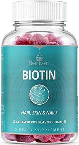 BeLive Biotin Gummies for Hair Growth, Promotes Healthier Hair, Skin & Nail - Best Strength 10,000mcg for Women & Men, 60 Count