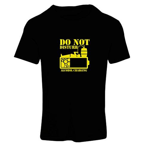 lepni.me N4221F T Shirts for Women Alchohol Charging (Medium Black Yellow) ()