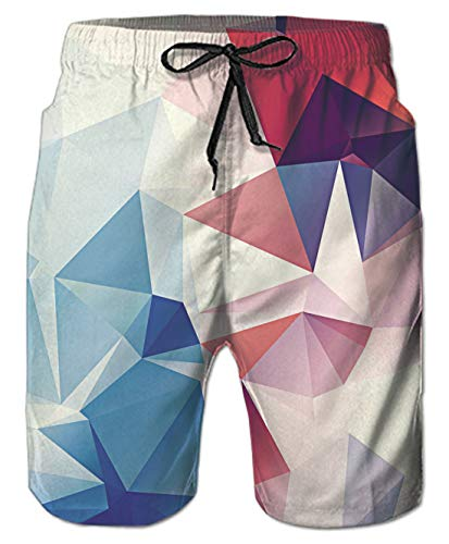 (Belovecol Bathing Suits for Teens Boys Juniors Adult 80s 3D Colorful Surf Board Shorts S)