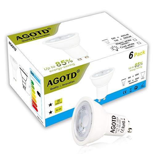 AGOTD GU10 LED Bulbs Not Dimmable, 5W Cob Led, 35W 40W Halogen Bulb Replacement,100V-130V AC, GU 10 Downlights Warm White 3000K, 400LM, 38 Degree Spotlight, 6pcs Pack