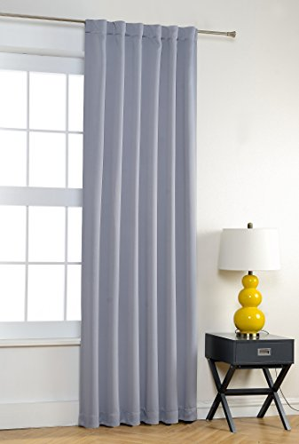 MYSKY HOME Thermal Insulated Back Tap and Rod Pocket Blackout Curtains, Greyish White, 52 x 95 Inch, 1 Panel