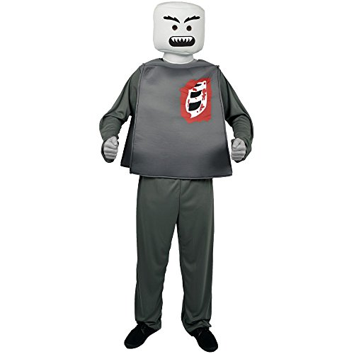 Blockhead Costumes (Morphsuits Men's Morphcostume Co Mr. Block Head Zombie Skeleton Unisex Costume, Grey, One Size)