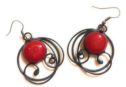 Bretun Natalia Earrings Red Handmade stained glass