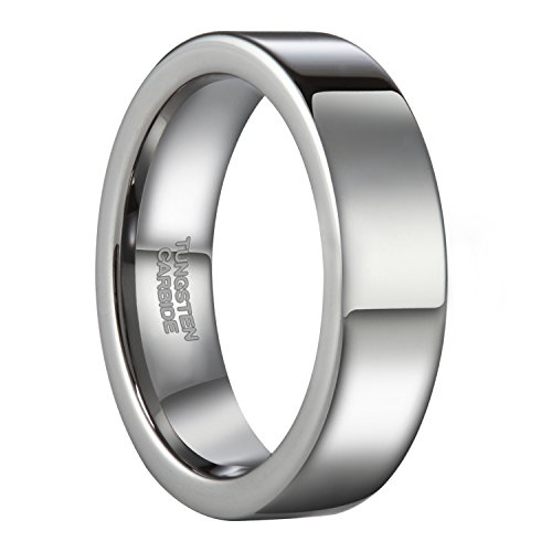 Price comparison product image 6mm Flat High Polished Tungsten Ring for Men Simple Plain Pipe Cut Wedding Band Size 9.5