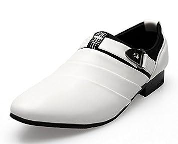 GLSHI Hommes Pointe Toe Chaussures Décontractées British Buckle Leather Shoes Stylish Slip On Shoes Chaussures De Mariage En Blanc ( Size : 42 ) KhT2I