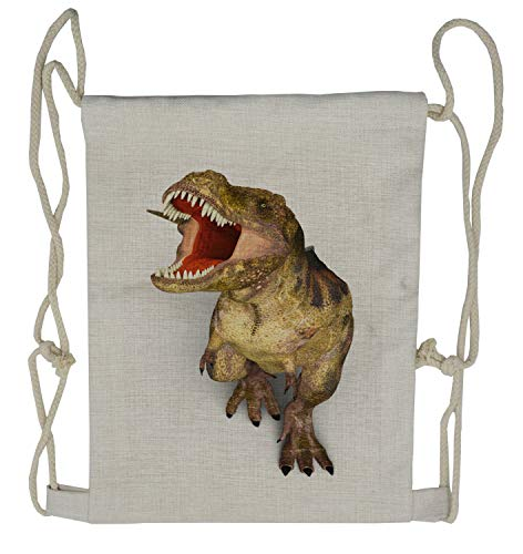 Ambesonne Dinosaur Drawstring Backpack, Roaring Vivid T-Rex, Sackpack Bag