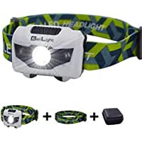 Headlamp LED Headlight 4 Modes Outdoor Flashlight for Camping Hiking Running Walking Reading- Package with 1 Adjustable Band head lamp 1 Replacement Band and 1 Packing Case