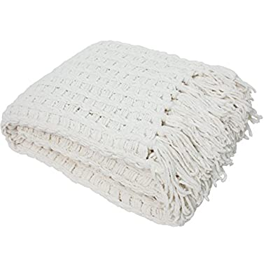 J & M Home Fashions Luxury Chenille Throw with Tassels, 50 by 60-Inch, Cream
