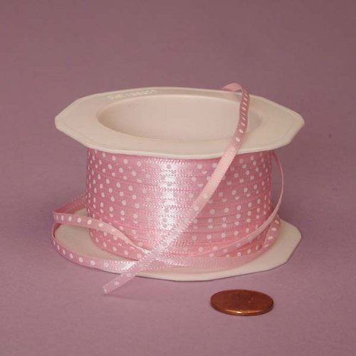 Pink Ribbon with White Polka Dots, 1/8