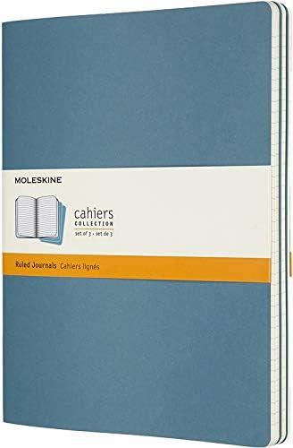 Moleskine Cahier Journal (3er Set Notizbücher mit linierte Seiten, Kartoneinband und Baumwollstickerei, Extra Large 19 x 25 cm, 120 Seiten) Blau
