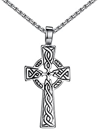 """Stainless Steel Celtic Cross Irish Knot Pendant Necklace, Unisex, 21"""" Link Chain, aap152"""