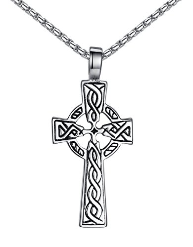 Aoiy Stainless Steel Celtic Cross Irish Knot Pendant Necklace, Unisex, 21