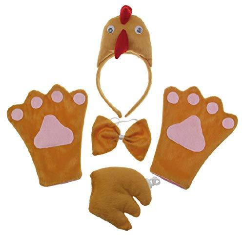 Chick 4pc Children Costume Kids Cosplay Headband Bowtie Tail Gloves]()