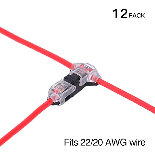 Low Voltage Wire splice connectors - Pack of 12 Quick Solderless T Tap Connector 1 Pin,Rock Solid Connector for 20/22 AWG Cable for Vehicle/audio/video/Lighting and Automotive Uses By Brightfour
