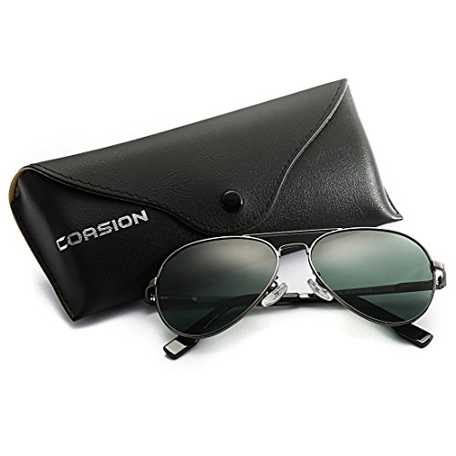 Aviator Sunglasses Gunmetal Frame - Polarized Aviator Sunglasses for Juniors Small Face Women Men Vintage UV400 Protection Shades(Gunmetal Frame/G15 Green Lens)