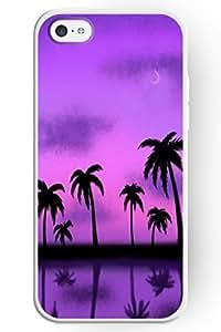 SPRAWL EYE ATTRACTIVE Hard Plastic Case Cover Shell for Apple iPhone 5C-- Beach Tree under Purple Sky