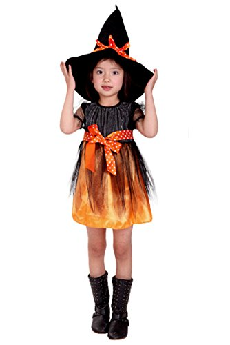 [Little Princess Fairytale Witch Costume Girl's Pretty Witch Cospaly Orange (130:Fit for] (Chinese Vampire Costume)