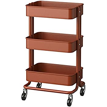 RASKOG 1419-503-317-62 Home Kitchen Storage Utility Cart - Red Brown