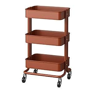 RASKOG 1419-503-317-62 Home Kitchen Storage Utility Cart - Red Brown
