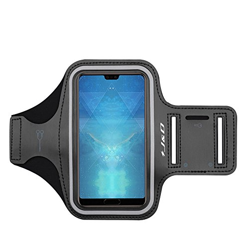 J&D Armband Compatible for Huawei P20 Armband, Sports Armband with Key Holder Slot for Huawei P20 Running Armband, Perfect Earphone Connection While Workout - [Not for P20 Pro / P20 Lite] - Black