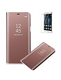 Funyye Rose Gold Mirror Leather Case for Huawei P9 Lite 2017,Multi-functional Plating Transparent Cover for Huawei P9 Lite 2017,Fashion Ultra Slim Clear View Shockproof KickStand Protective Flip Case for Huawei P9 Lite 2017 + 1 x Free Screen Protector