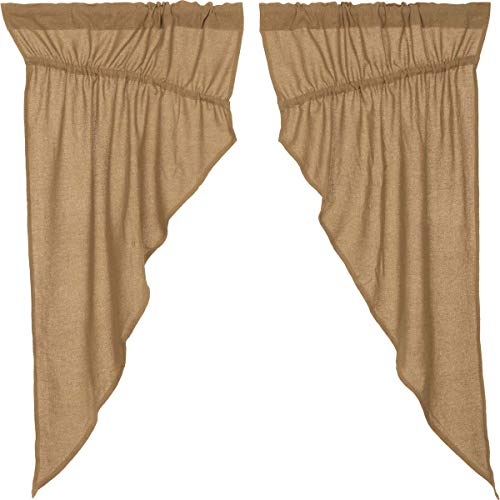 (VHC Brands Classic Country Farmhouse Window Burlap Tan Prairie Curtain Pair 63