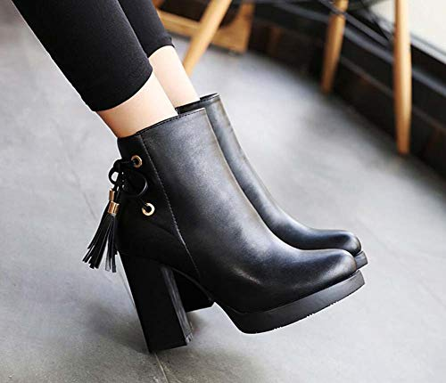 Women OL Casual Knot Heel Court Black 34 Bow Zipper Bootie Size 40 Shoes Round Chunkly Eu Ankle 10Cm Toe wxzqPIq